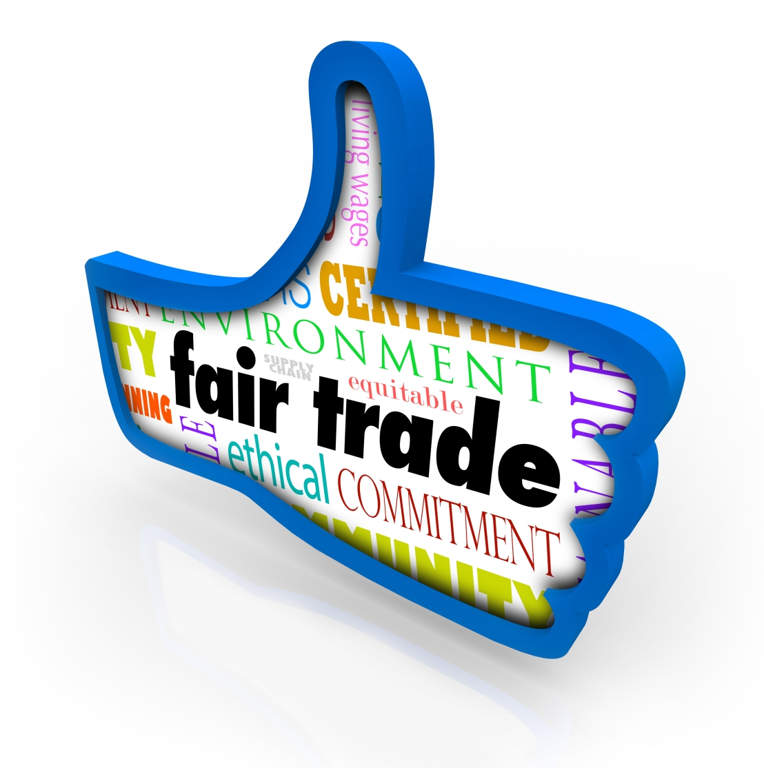 Fair Trade Blue Thumbs Up Words Responsible Business Approval Li